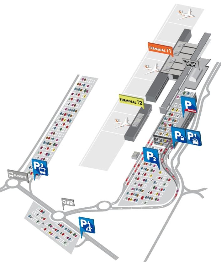 Plan du parking public de Charleroi aéroport