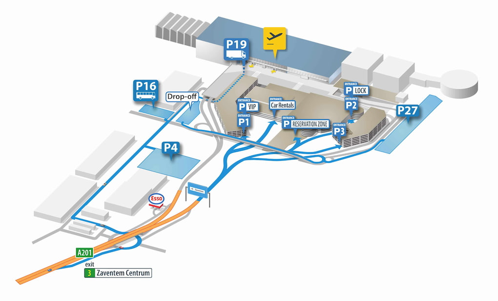 Plan du parking de Zaventem