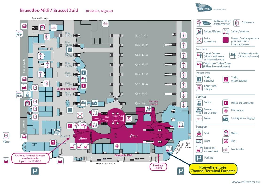 Plan de la gare et des entrées de parking de Bruxelles Midi